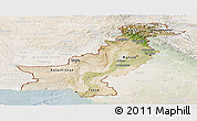 Satellite Panoramic Map of Pakistan, lighten