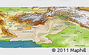Satellite Panoramic Map of Pakistan, physical outside, satellite sea
