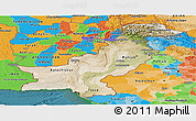 Satellite Panoramic Map of Pakistan, political outside, satellite sea