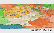 Satellite Panoramic Map of Pakistan, political shades outside, satellite sea