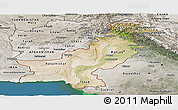 Satellite Panoramic Map of Pakistan, semi-desaturated, land only