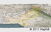 Satellite Panoramic Map of Pakistan, semi-desaturated
