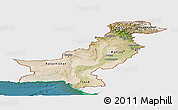 Satellite Panoramic Map of Pakistan, single color outside