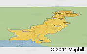 Savanna Style Panoramic Map of Pakistan, single color outside