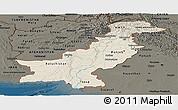 Shaded Relief Panoramic Map of Pakistan, darken