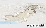 Shaded Relief Panoramic Map of Pakistan, lighten