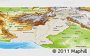 Shaded Relief Panoramic Map of Pakistan, physical outside