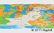 Shaded Relief Panoramic Map of Pakistan, political outside, shaded relief sea