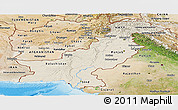 Shaded Relief Panoramic Map of Pakistan, satellite outside, shaded relief sea