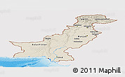 Shaded Relief Panoramic Map of Pakistan, single color outside
