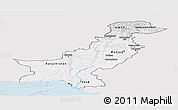 Silver Style Panoramic Map of Pakistan, single color outside