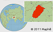 Savanna Style Location Map of Punjab