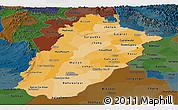Political Shades Panoramic Map of Punjab, darken