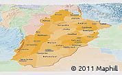 Political Shades Panoramic Map of Punjab, lighten