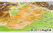 Political Shades Panoramic Map of Punjab, physical outside