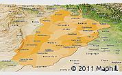 Political Shades Panoramic Map of Punjab, satellite outside