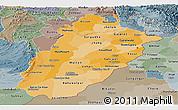 Political Shades Panoramic Map of Punjab, semi-desaturated