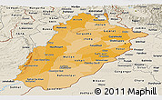 Political Shades Panoramic Map of Punjab, shaded relief outside