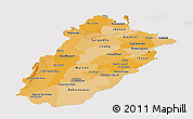 Political Shades Panoramic Map of Punjab, single color outside