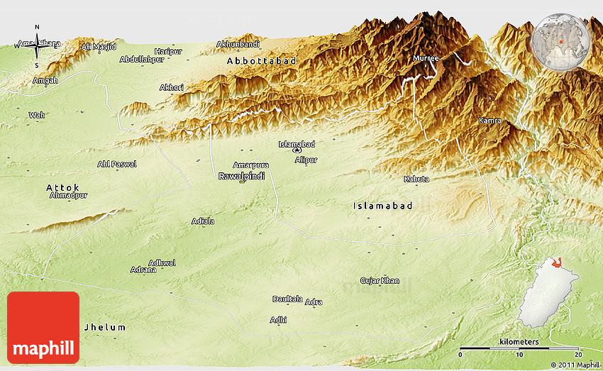 Physical Panoramic Map of Rawalpindi