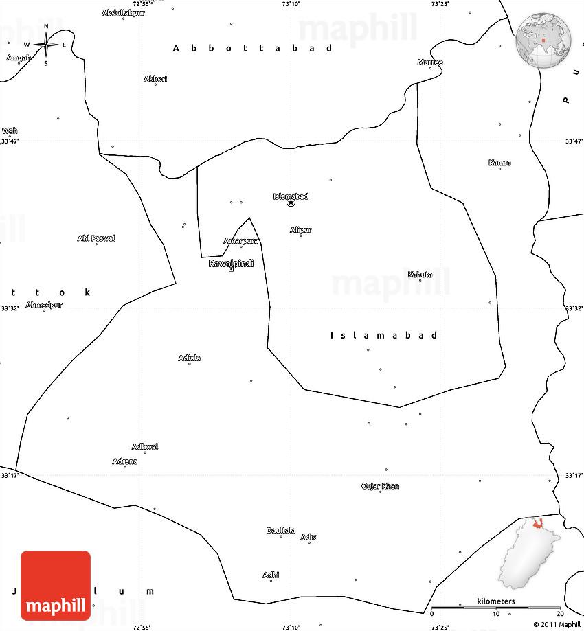 Blank Simple Map of Rawalpindi