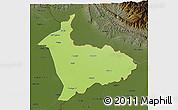 Physical 3D Map of Sialkot, darken