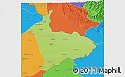 Physical 3D Map of Sialkot, political outside