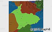 Political 3D Map of Sialkot, darken