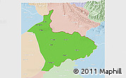 Political 3D Map of Sialkot, lighten