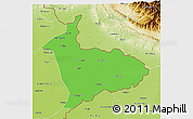 Political 3D Map of Sialkot, physical outside