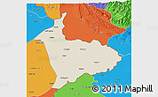 Shaded Relief 3D Map of Sialkot, political outside