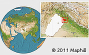 Satellite Location Map of Sialkot, highlighted parent region
