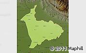 Physical Map of Sialkot, darken