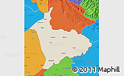 Shaded Relief Map of Sialkot, political outside