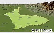 Physical Panoramic Map of Sialkot, darken