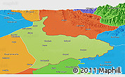 Physical Panoramic Map of Sialkot, political outside