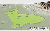 Physical Panoramic Map of Sialkot, semi-desaturated