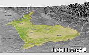 Satellite Panoramic Map of Sialkot, desaturated