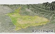 Satellite Panoramic Map of Sialkot, semi-desaturated