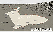 Shaded Relief Panoramic Map of Sialkot, darken