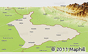 Shaded Relief Panoramic Map of Sialkot, physical outside