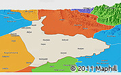 Shaded Relief Panoramic Map of Sialkot, political outside