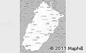 Gray Simple Map of Punjab