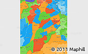 Political Simple Map of Punjab, political shades outside