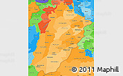 Political Shades Simple Map of Punjab