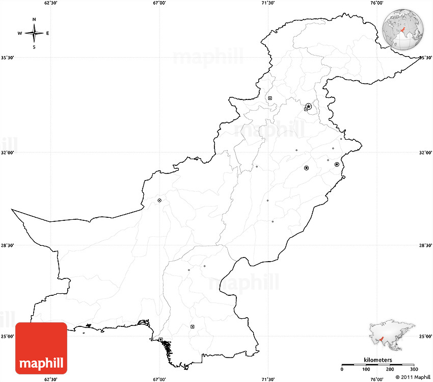 Blank Simple Map Of Pakistan Cropped Outside No Labels - Unlabelled map