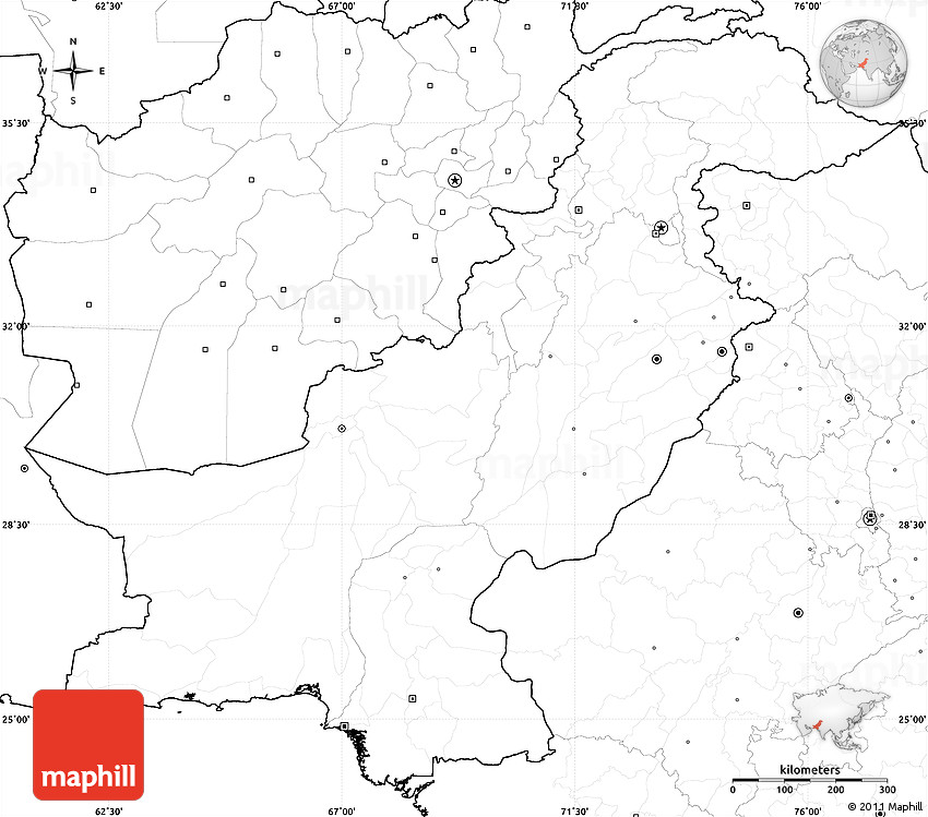 Blank Simple Map Of Pakistan No Labels - Blank us map without states