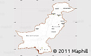 Classic Style Simple Map of Pakistan, cropped outside