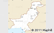 Classic Style Simple Map of Pakistan, single color outside