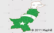 Flag Simple Map of Pakistan, flag rotated
